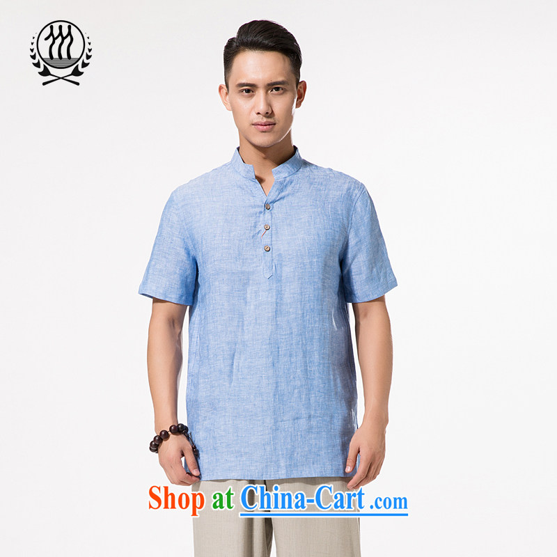 China wind Summer of ramie, short-sleeved T-shirt men's Chinese, ramie for short-sleeved relaxed and comfortable large, male, Father cotton Ma short-sleeved T-shirt light blue XXXL_190