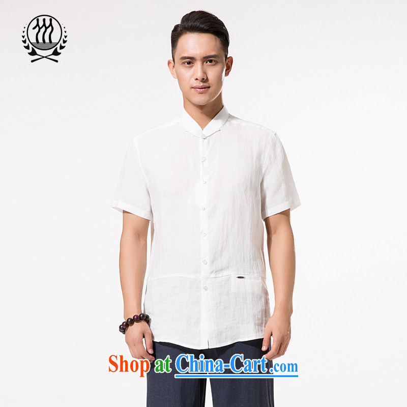 China ramie summer short-sleeved T-shirt, old men ramie Tang with XL men's cotton MA, for summer, short-sleeved T-shirt cotton the father with white XXXL/190
