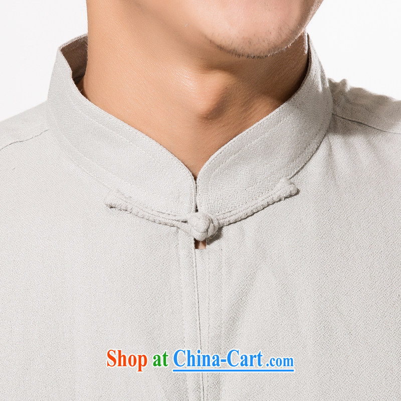 China wind in summer, and upscale fine ramie Tang with a short-sleeved T-shirt men's Chinese, manually for the buckle ramie short-sleeved T-shirt relaxed and comfortable ramie cloth short-sleeved gray XXXL/190, and mobile phone line (gesaxing), and, on-li