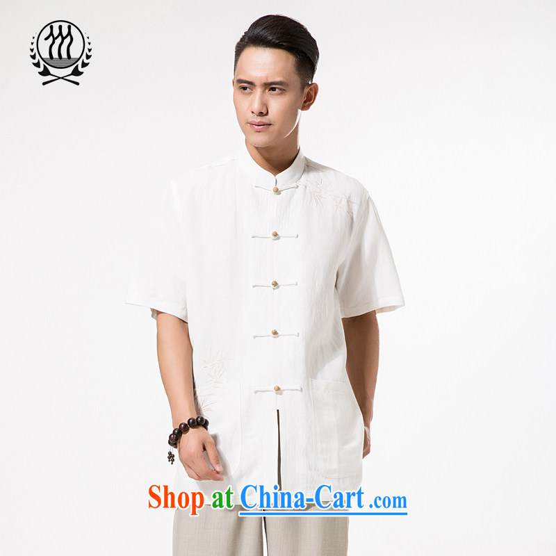 China wind Summer of cotton, the embroidery short sleeve T-shirt men's cotton the Commission, for manually-snap T-shirt with short sleeves relaxed and comfortable older embroidery t-shirt with short sleeves white XXXL/190