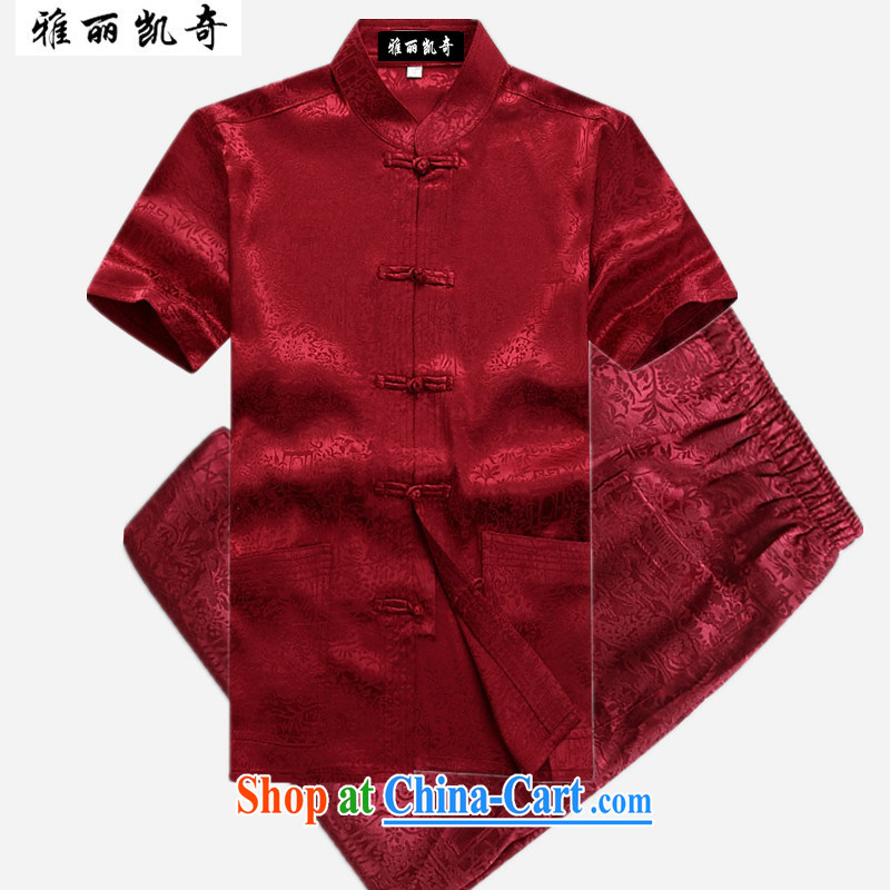 Alice, Kevin summer middle-aged Chinese short-sleeved T-shirt men's China wind, served both men and middle-aged and older persons men's grandfather shirt summer Chinese short-sleeved Tang package red package 190