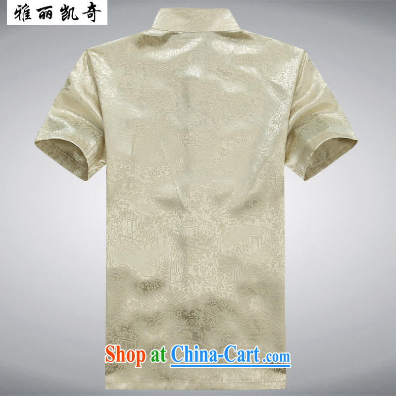 Ya-li Kai, Chinese men's Tang is included in the kit older persons short-sleeved Chinese Wind and load short summer replacing the code with My Father on His grandfather with beige suite 190, Alice, Kevin, shopping on the Internet