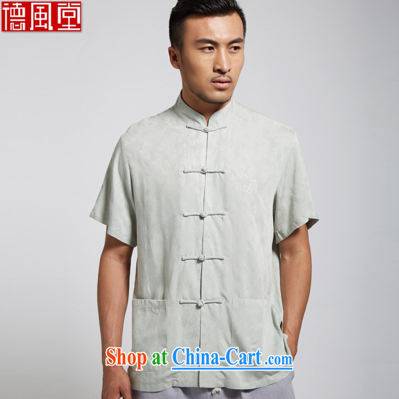 De-tong, summer 2015 new cotton men's Chinese short-sleeved Chinese clothing light green 4 XL