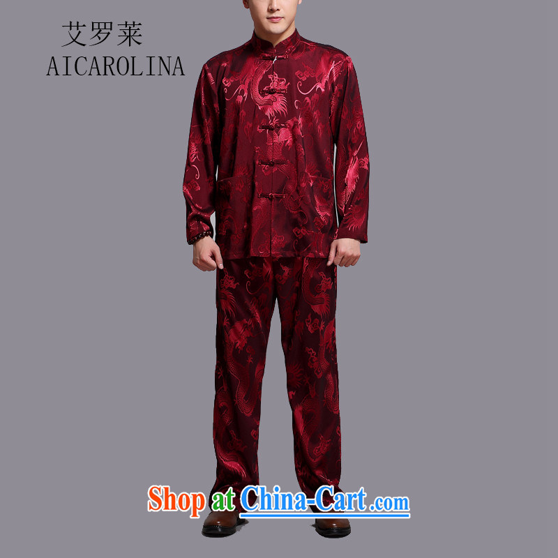 The Carolina boys men's middle-aged and older Chinese men's long-sleeved middle-aged father older persons Tang package installed China wind male large red 4 XL_190