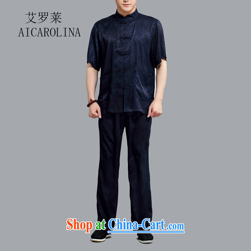 The Honorable Henry Tang, the Leisure middle-aged Chinese Kit T-shirt Chinese style in a new, Han-serving Nepal's national dress燽lue 4 XL_190