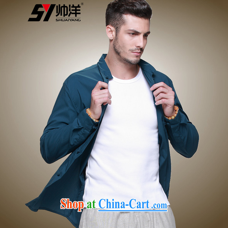 cool ocean New China wind men's Chinese shirt Chinese men's long-sleeved T-shirt ultra-thin national costumes, for summer dark green 42_180