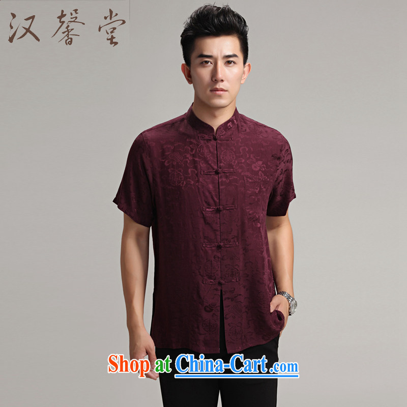 Han Xin Tong Tang replace short-sleeved men's Silk costumes Han-men monks serving Chinese Zhongshan, older male Chinese wind silk shirt wine red XXXL