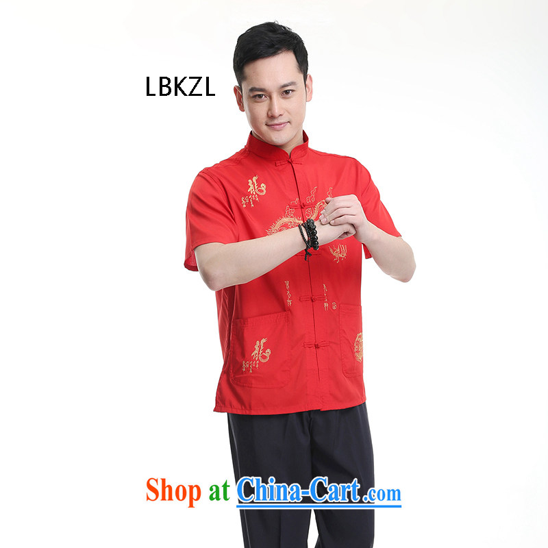 LBKZL 2015 summer New T shirts China wind summer cool, breathable sweat-wicking short-sleeved Chinese men's T-shirt the older Chinese red 43