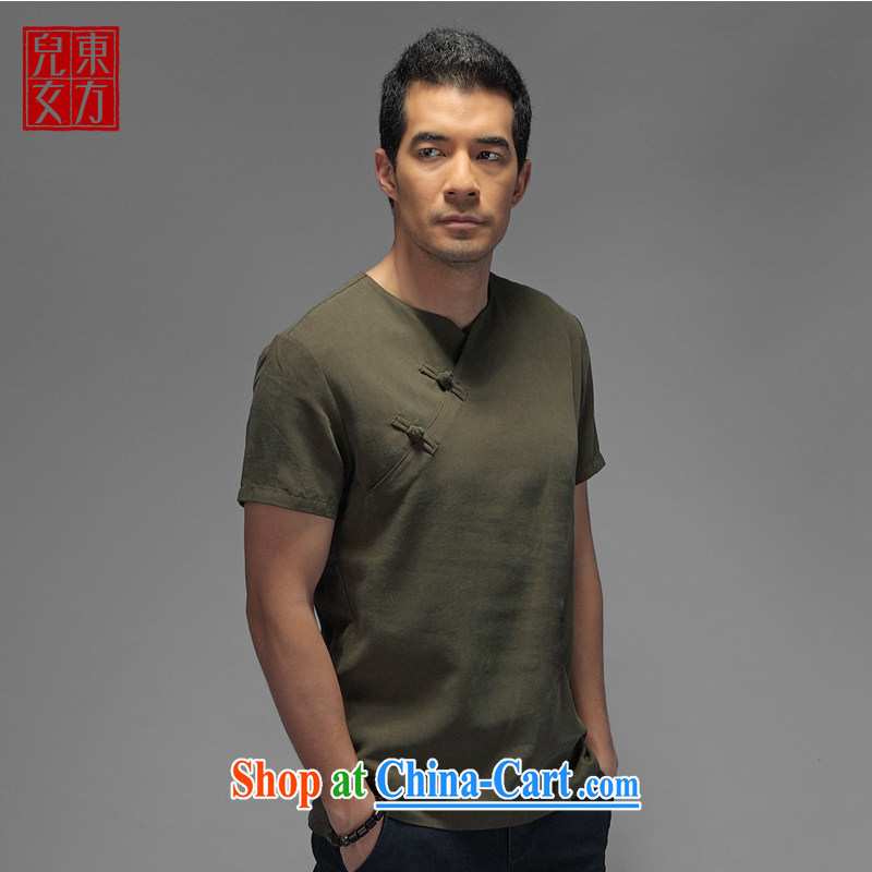 Oriental children China wind is a hard drive for days, the Leisure improved Han-Chinese men's short-sleeved Chinese T-shirt dark green XXL