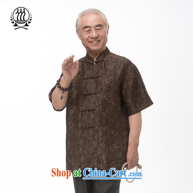 And 3 Summer in Hong Kong, the roses short-sleeve T-shirt Ethnic Wind silk short-sleeved T-shirt, older men and silk short-sleeved T-shirt breathable comfort with Father brown XXXL_190