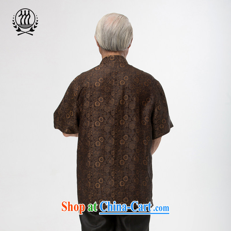 And 3 Summer in Hong Kong, the roses short-sleeve T-shirt Ethnic Wind silk short-sleeved T-shirt, older men and silk short-sleeved T-shirt breathability and comfort with Father brown XXXL/190, and mobile phone line (gesaxing), and, on-line shopping
