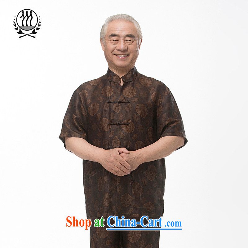 In summer, the elderly people in Hong Kong cloud yarn short-sleeved Tang loaded package of silk short-sleeved Kit male taxi fare increase is silk short-sleeved Tang load package men's Silk auspicious Kit brown XXXL_190
