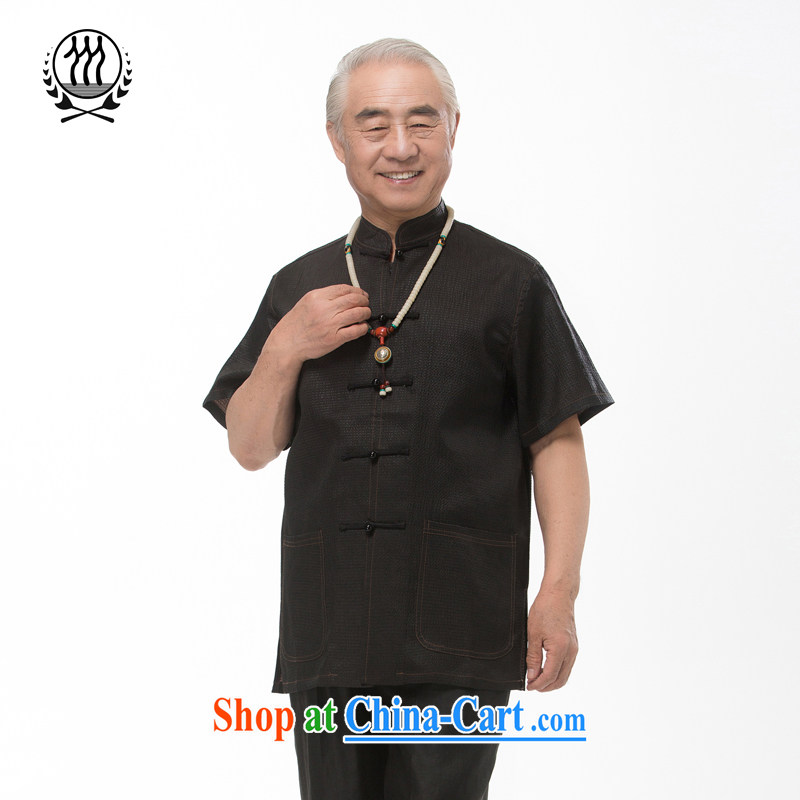 And 3 line summer genuine incense cloud yarn Man Tang is short-sleeved shirt China wind men's Silk short-sleeved T-shirt men, for manually-tie silk short-sleeved T-shirt dark brown XXXL/190
