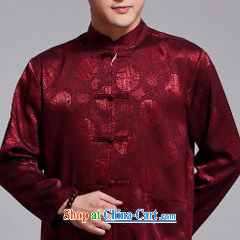 Silver armour middle-aged and older Chinese men and set new long-sleeved Chinese wind 1000 jubilee, served male Chinese sauna silk Chinese leisure father red 180, silver armor, and shopping on the Internet