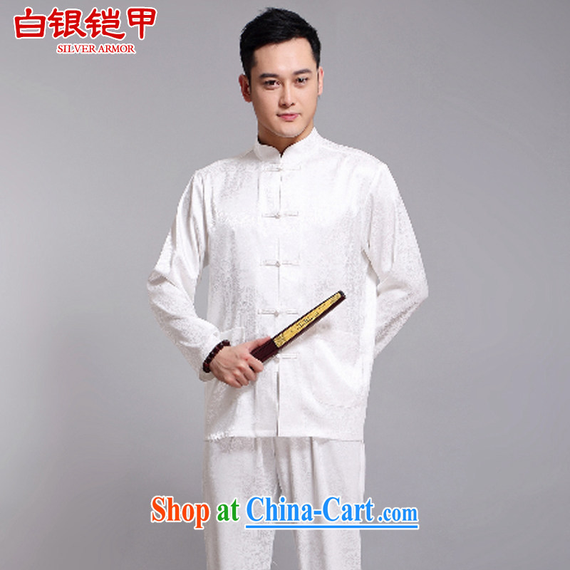 Silver armor in older Chinese men and set new spring and long-sleeved, served with the Chinese, who is detained sauna silk loose Chinese White 180