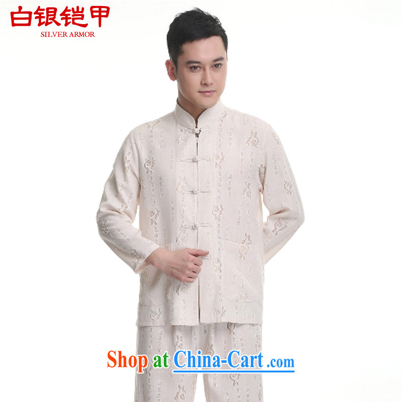 Silver armor in older Chinese men and Kit spring and fall new cotton linen the Commission well field long-sleeved Chinese Han-male yellow 190