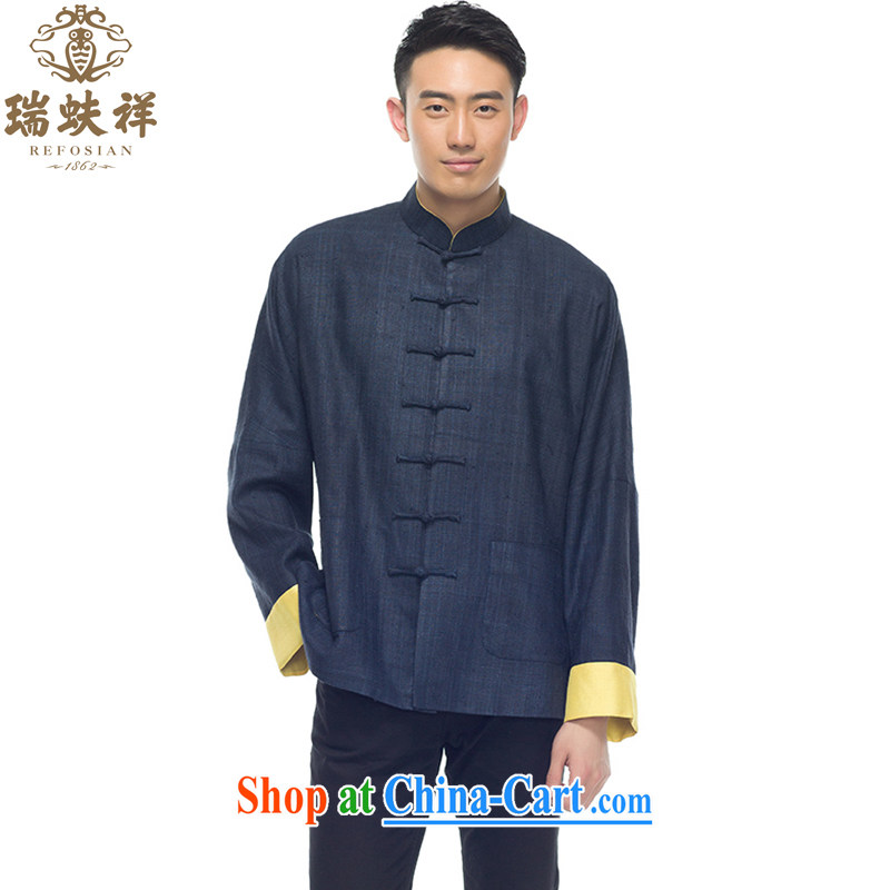 Ryan and Eric LI tussah silk Chinese shirt summer 2015 New Men's Chinese style silk shirt dark blue M