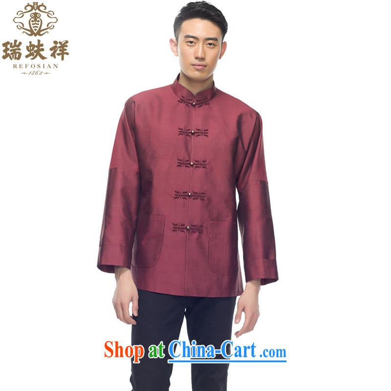 Ryan and Eric LI tussah silk men Tang replace 2015 summer new retro style silk shirt deep red XXL