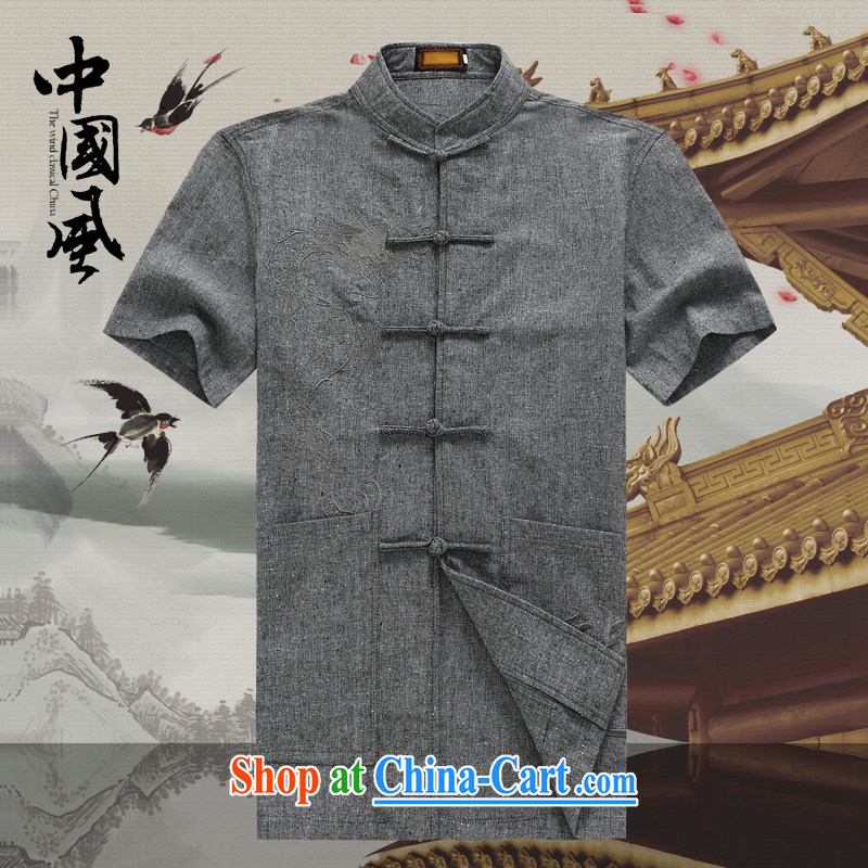Men's short-sleeved Chinese summer 2015 new male Chinese linen short sleeved T-shirt T-shirt Chinese wind in older men and Chinese D - 250 250 D Dark Gray M
