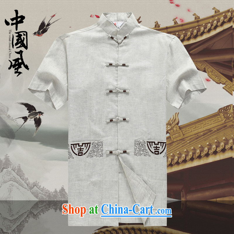 Men's short-sleeved Chinese summer 015 new male Chinese linen short sleeved T-shirt T-shirt China wind up in older men and Chinese D 236 gray L