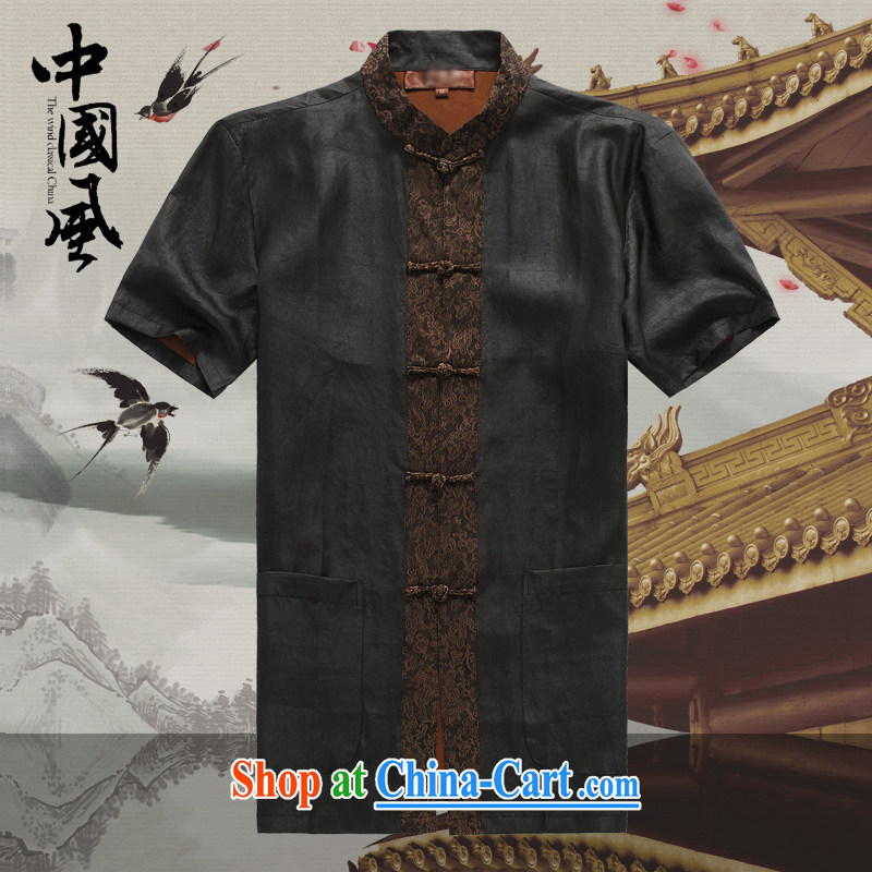 Chinese men and a short-sleeved T-shirt in summer, and Tang with the Shannon cloud yarn silk, older Chinese short-sleeved father replace D 582 black L