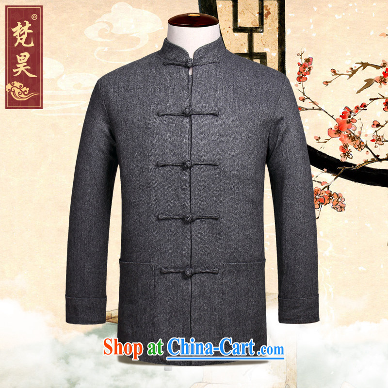 Autumn 2015 New Men Tang jackets Chinese, for long-sleeved hand-tie Chinese W 869 light gray 4 XL