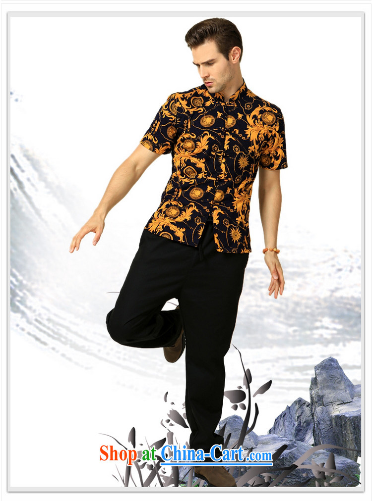 cool ocean 2015 summer New Beauty stamp China wind men's Chinese short-sleeve shirt Satin cotton Chinese shirt Yellow Flower 175/L pictures, price, brand platters! Elections are good character, the national distribution, so why buy now enjoy more preferential! Health