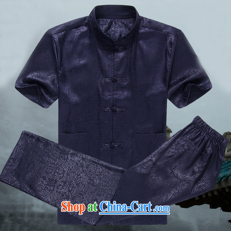 Mr . baidis men's Tang load package short-sleeve older people in his father and grandfather with Kung Fu summer DK 108 Classic Blue 175/L