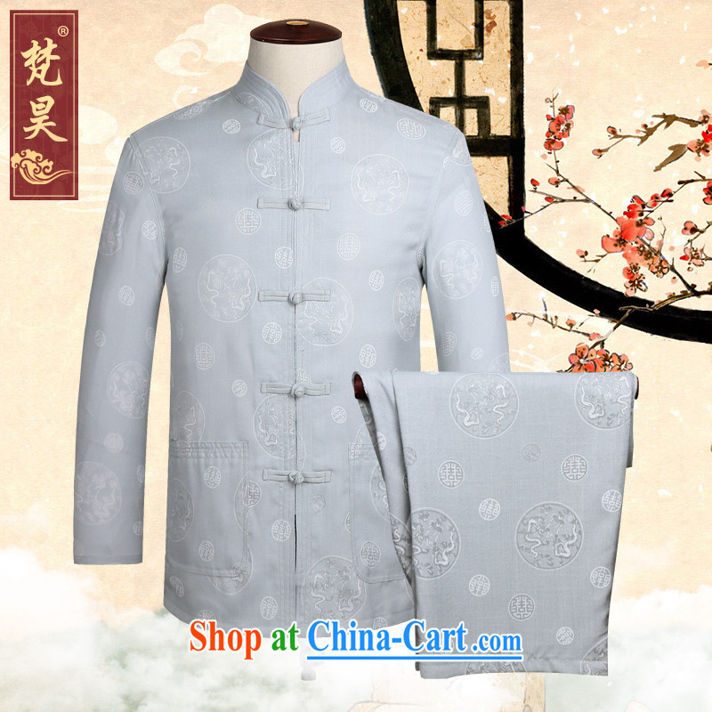 Van Gogh's annual linen Chinese men and long-sleeved Kit spring China wind cotton shirt the elderly in Nepal TCM serving 510 gray XL