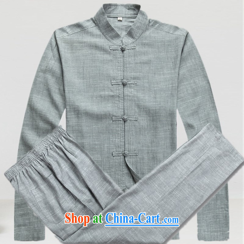 The people more than the spring and summer new linen men Tang with the Code and long-sleeved Kit old napped older persons in Chinese T-shirt Dad installed China wind-charge, blue gray suit T-shirt pants XXXL/190