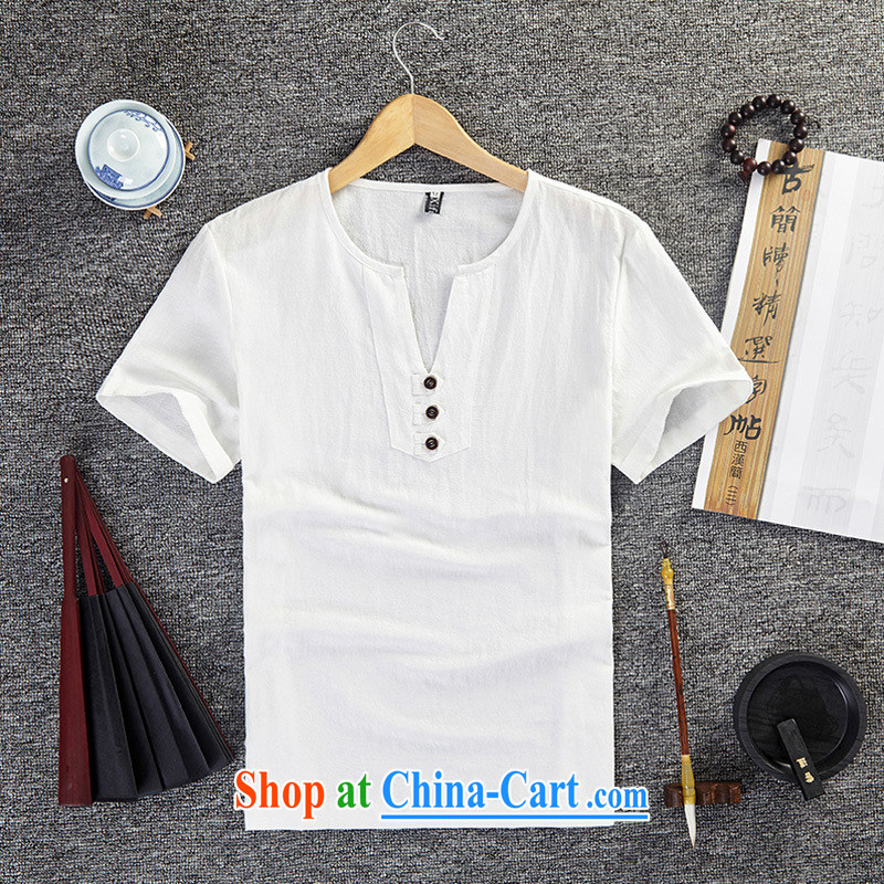 Old Mr Rafael Hui Carter (GUSSKATER) summer National wind linen clothes half sleeve larger units the commission T shirts China wind short-sleeved V for men's clothing, loose T-shirt white 5XL