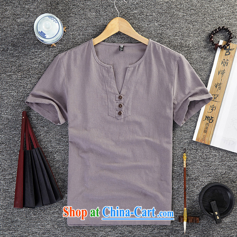 Old Mr Rafael Hui Carter (GUSSKATER) summer National wind linen clothes half sleeve larger units the commission T shirts China wind short-sleeve V for men's clothing, loose T-shirt white 5XL, Mr Rafael Hui Carter (GUSSKATER), online shopping