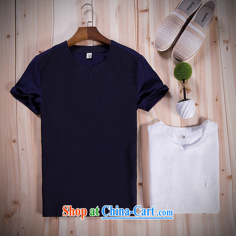 Mr. Sze-Carter (GUSSKATER) China wind men's cotton linen half short-sleeved T shirts men's linen national T �� relaxed summer and indeed increase white M