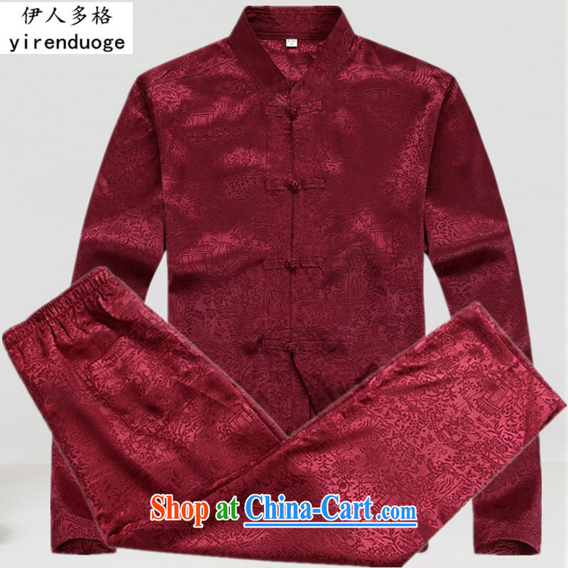 The more the new Chinese middle-aged and older men's long-sleeved Chinese shirt spring dress and T-shirt Chinese Tang package loaded with his father serving Nepal red T-shirt and pants XXXL_190