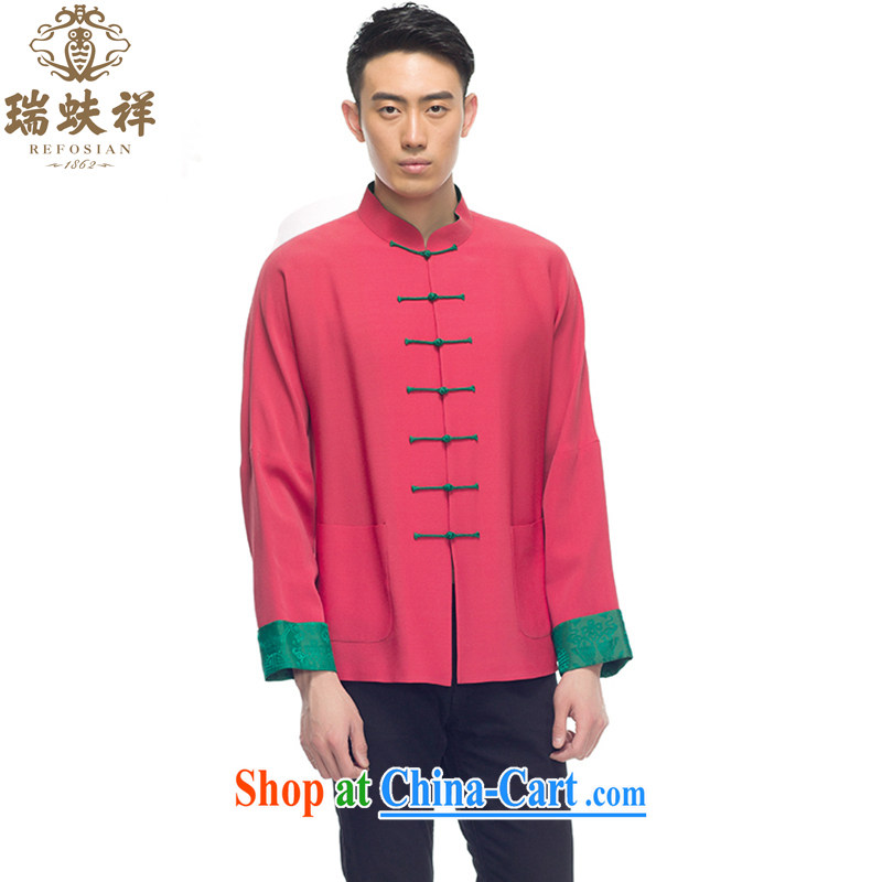 Ryan and Eric LI men's Sauna silk brocade-buckle Tang replace 2015 summer new stylish shirt silk shirt rose red XXXL