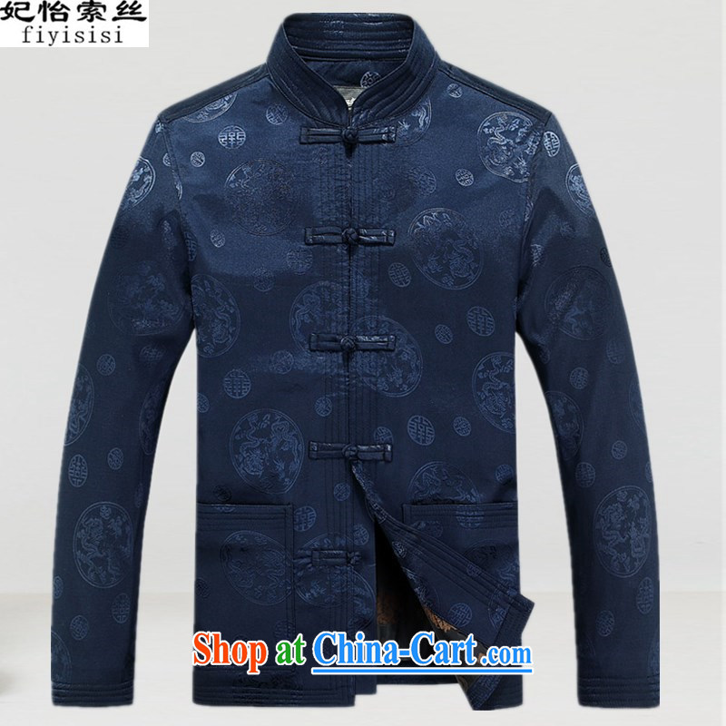 Princess Selina CHOW in old clothes with autumn men older people Chinese jacket jacket Chinese-buckle older Chinese long-sleeved men and older persons with Tang long-sleeved jacket, served deep blue XXXL_190