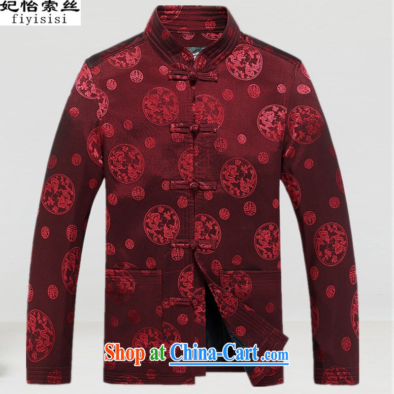 Princess Selina CHOW in Chinese men's jacket in spring older persons smock long-sleeved T-shirt, serving casual jacket with Grandpa leisure jacket smock Han-XL red L_175