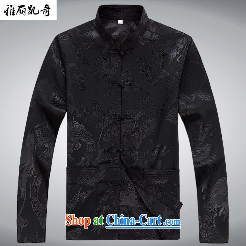 Alice Kay, the older Chinese men and spring and summer long-sleeved Chinese Generalissimo Kit father loaded T-shirt ethnic Chinese, Han-New-clip Grandpa loaded cynosure serving black T-shirt and pants XXXL_190
