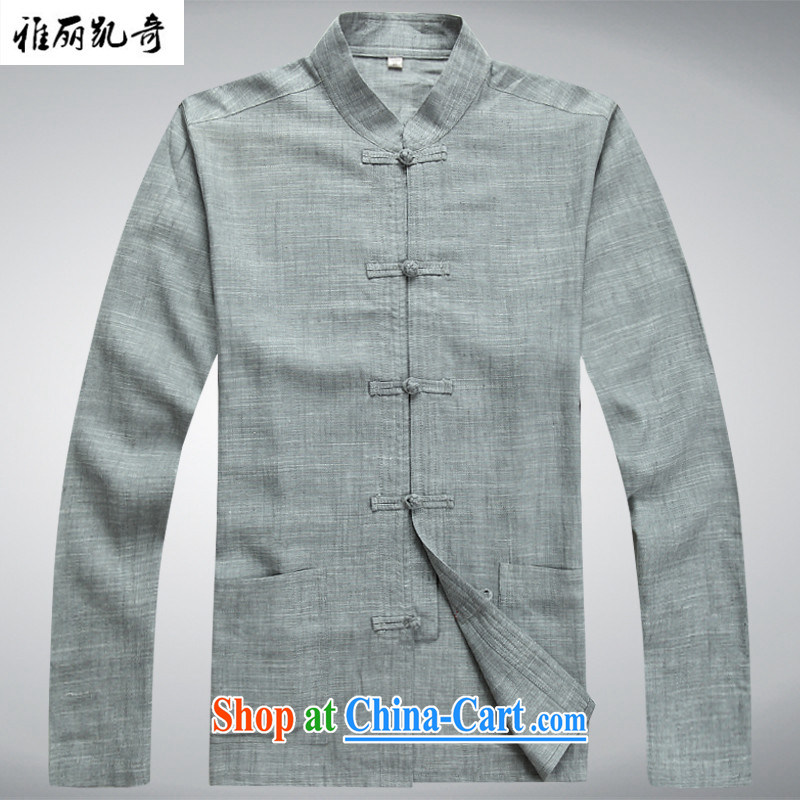 Alice, Kevin SPRING CHINESE Tang fitted linen tray snap middle-aged men Tang load package and long-sleeved T-shirt kung fu T-shirt Dad installed China wind Han-serving Nepal gray suit T-shirt and pants XXXL_190