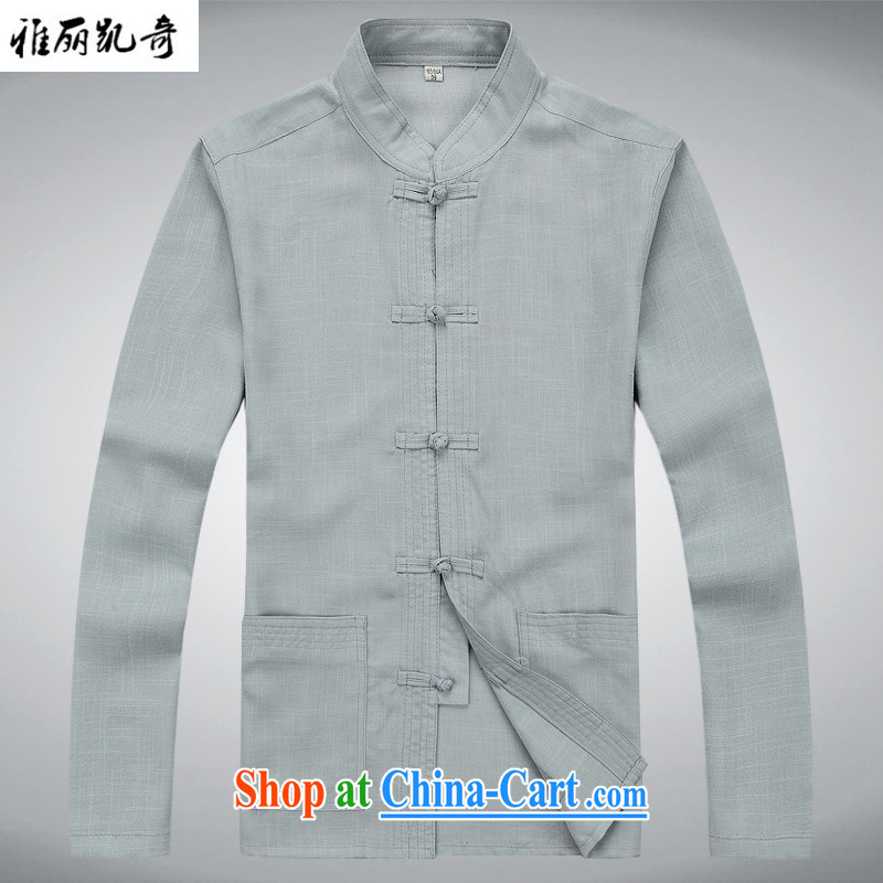 Alice Kay, new China wind spring and autumn men's traditional culture Chinese linen long-sleeved Chinese meditation service Nepal Service Package father's grandfather with gray suit T-shirt and pants XXXL/190