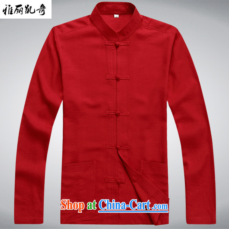 Alice Kay, new China wind spring and autumn men's traditional culture Chinese linen long-sleeved Chinese meditation service Nepal Service Package father's grandfather red T-shirt S/165