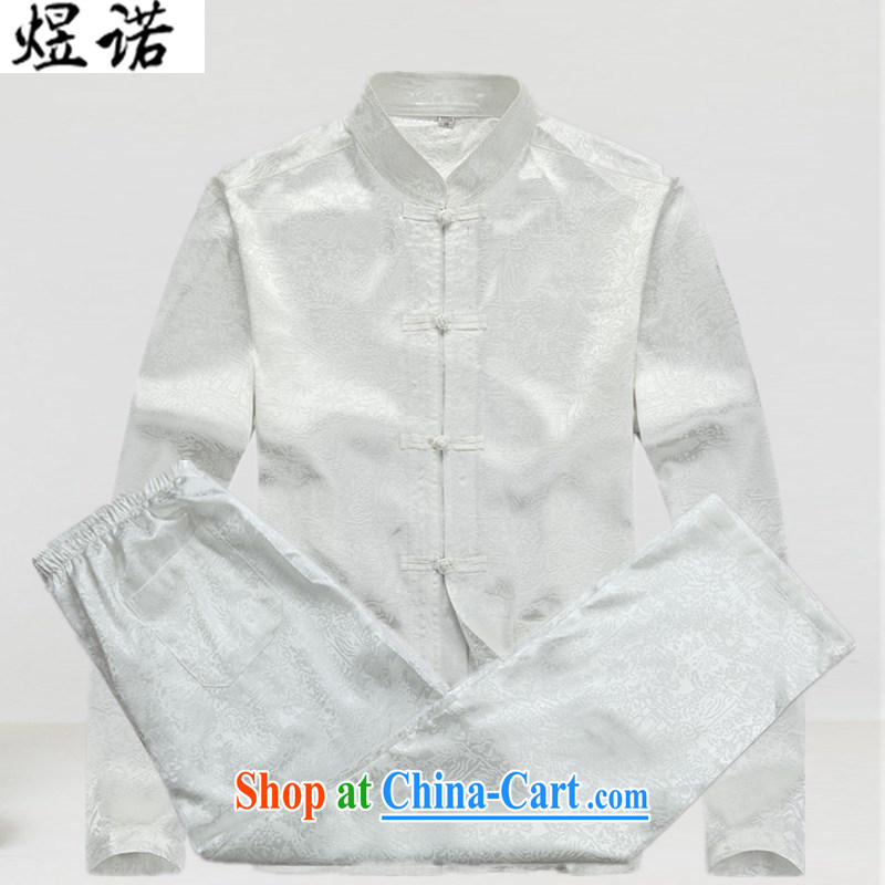 Become familiar with the male Tang load package father's grandfather Tang on the code and his father with Chinese Han-blue short-sleeved summer wear long-sleeved jacket coat 8060 Mr. Joinet, Jacob white package XXXL_190