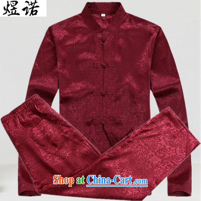 Become familiar with the new men's Tang with long-sleeved Kit older persons in spring_summer with Han-grandfather jacket with Chinese, for retro casual shirt 8060 lucky Red Kit XXXL_190
