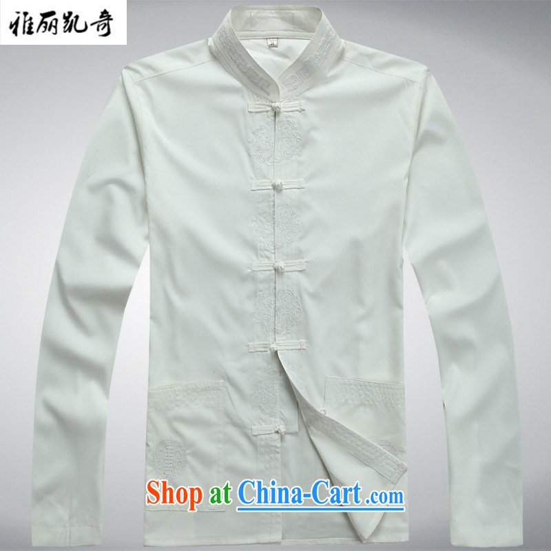 Alice, Kevin 2015 new, older men's long-sleeved Chinese package men's China wind-back of ethnic clothing leisure improved relaxed, served white Kit T-shirt and pants XXXL_190