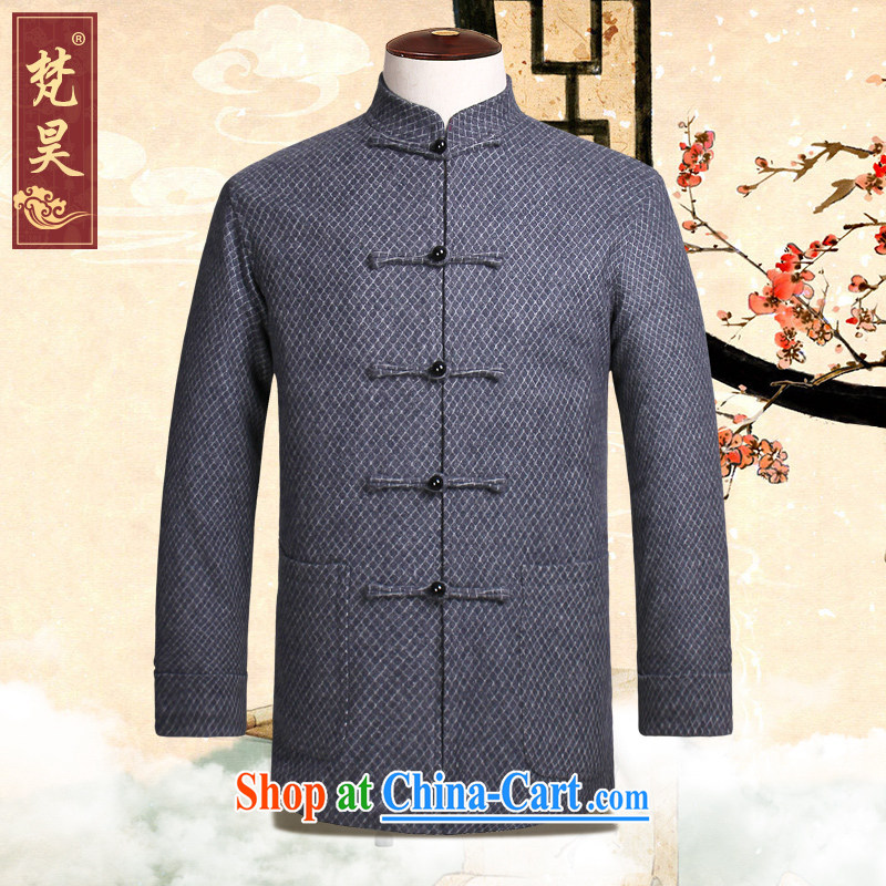 Van Gogh's annual fall and winter new Chinese long-sleeved jacket Chinese, manually for the buckle wool Chinese W 818 gray 4 XL