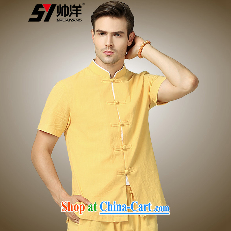 cool ocean 2015 summer New China wind men's Chinese T-shirt with short sleeves Chinese beauty, men's shirts for the yellow _short-sleeved_ 185_XXL