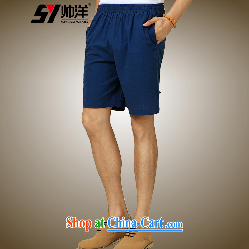 cool ocean 2015 summer New Men Tang dress shorts China wind pants Chinese-tie men and 5 pants Navy _shorts_ 180_XL