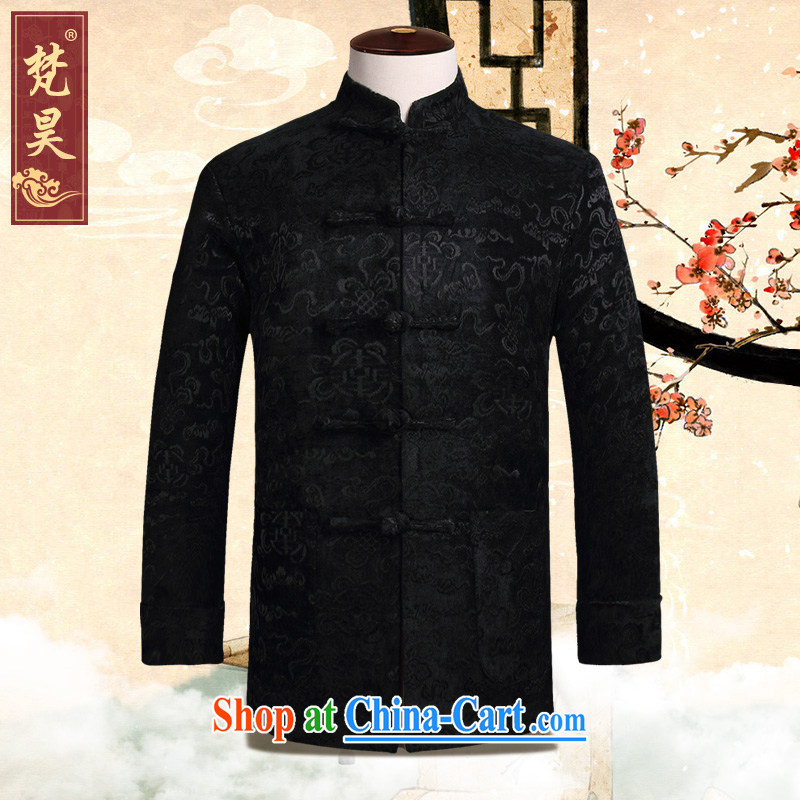Van Gogh's annual fall and winter New Tang jackets and older long-sleeved hand-tie the code Chinese W 813 black 4XL
