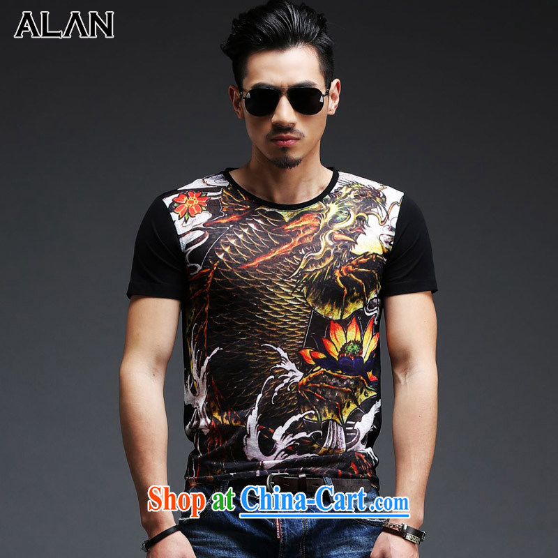 The sponsors of the summer short sleeved shirt T male China Tang is a solid color cotton men's shirts T round collar, served RCK - 2015 2013 black XL _weight 135 - 145 jack_