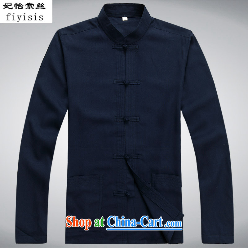 Princess Selina CHOW in China wind summer thin long-sleeved Chinese middle-aged and older men's leisure loose the code Chinese Han-collar, shirt cynosure. Tai Chi uniform dark blue Kit T-shirt and pants L/175